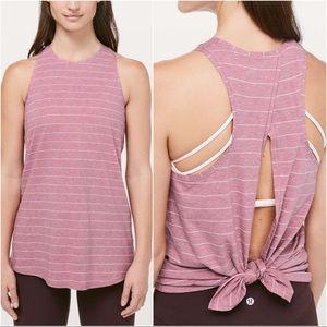 Lululemon All Tied Up Tank Pink Stripe Pima Cotton